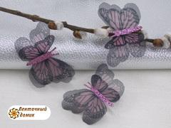 Бабочки шифоновые с розовым тельцем черно-розовые №6