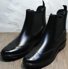 Модные женские резиновые сапоги короткие W9072Black.