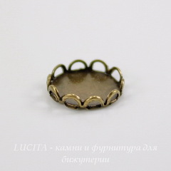 Сеттинг - основа для камеи или кабошона 7 мм (оксид латуни)