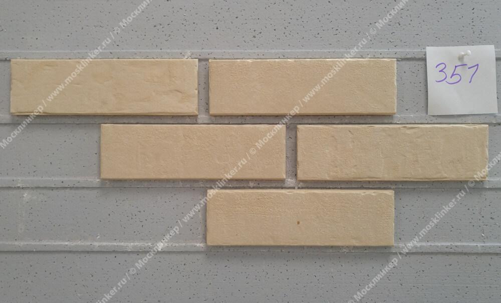 Stroeher, фасадная клинкерная плитка, цвет 351 kalkbrand, серия Zeitlos, состаренная поверхность, ручная формовка, 400x35x14