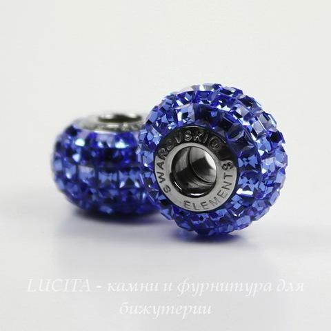 80201 Бусина Сваровски BeCharmed Pave Sapphire 15х9 мм