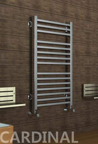 Cardinal E - электрический дизайн полотенцесушитель с квадратными вертикалями цвета хром.