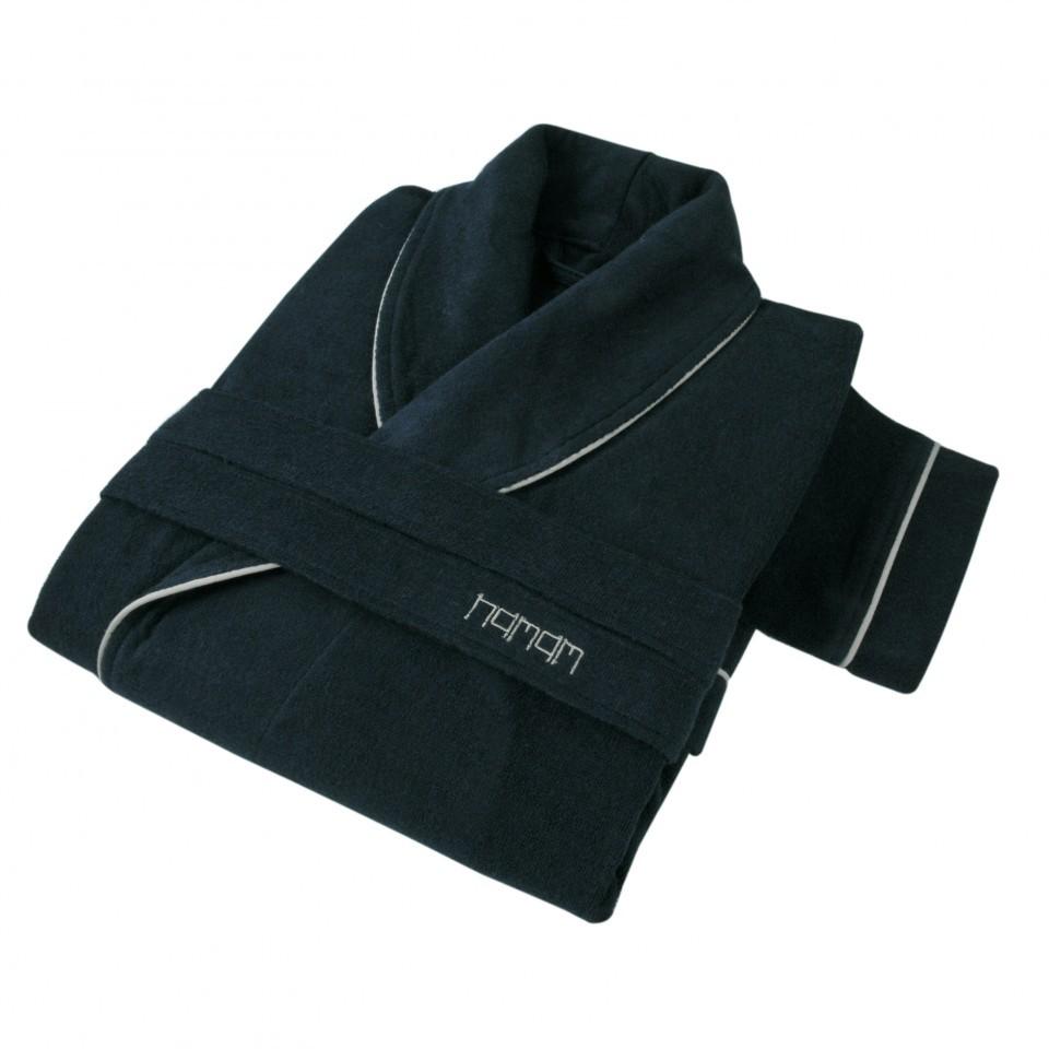 Элитный халат кашемировый Qashmare contrast синий от Hamam