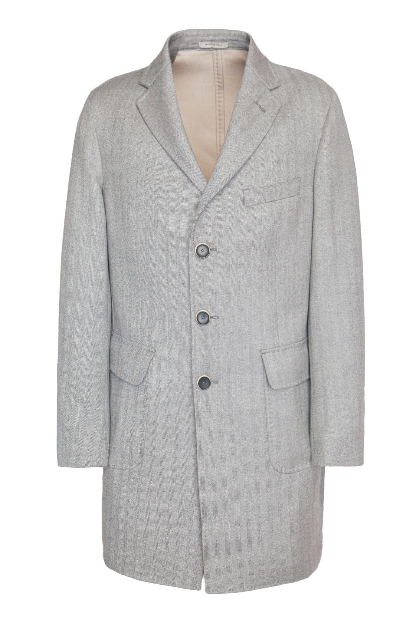 Классическое светло-серое пальто из натуральной шерсти