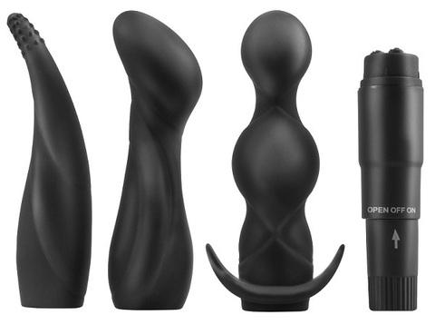 Анальный вибратор и три заменяемых насадки ANAL FANTASY Anal Adventure Kit (10,10х2,50 см)