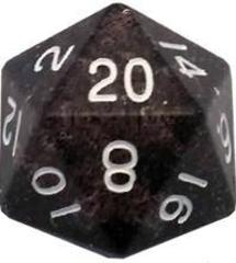 Mega Acrylic D20: Ethereal Black with White Numbers