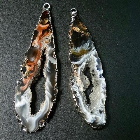 Подвески парные для серег 66 мм друза агата (оправа серебро) 1 пара