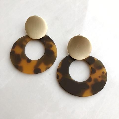 Серьги Кольца с леопардовым орнаментом, матовые