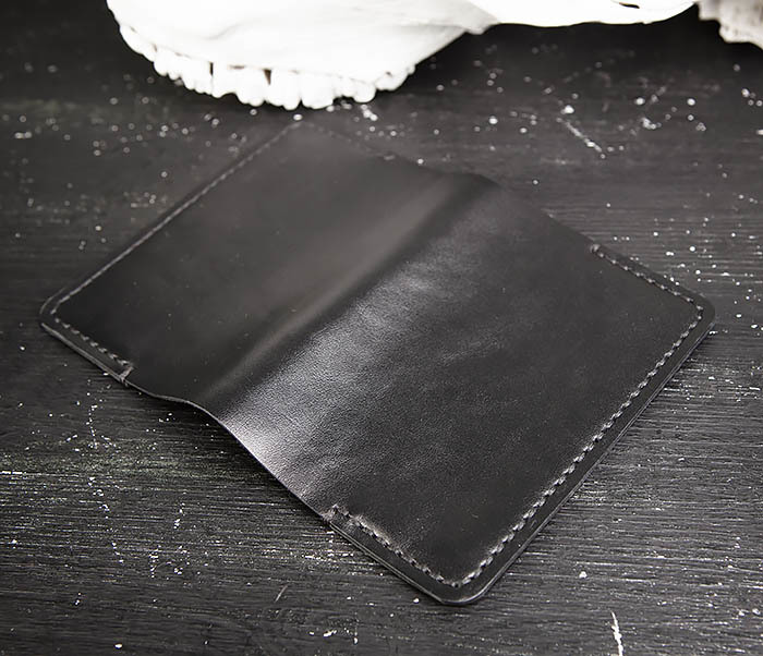 WB177-1 Обложка для паспорта из черной натуральной кожи фото 07