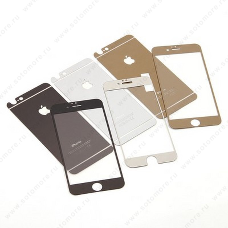 Стекло защитное SOTOMORE для Apple iPhone 6s Plus/ 6 Plus - толщина 0.33 mm в упаковке 2в1 матовое черный