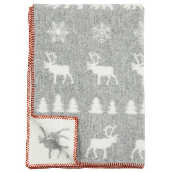 Одеяло,Лесные олени, KLIPPAN, 90 х 130 см, эко-шерсть, серый