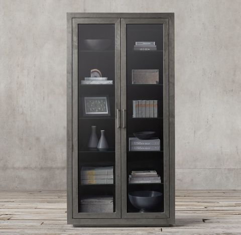 La Salle Metal-Wrapped Glass Double-Door Cabinet