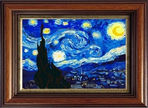 Звездная ночь,Ван Гог - картина со стразами, CKC124