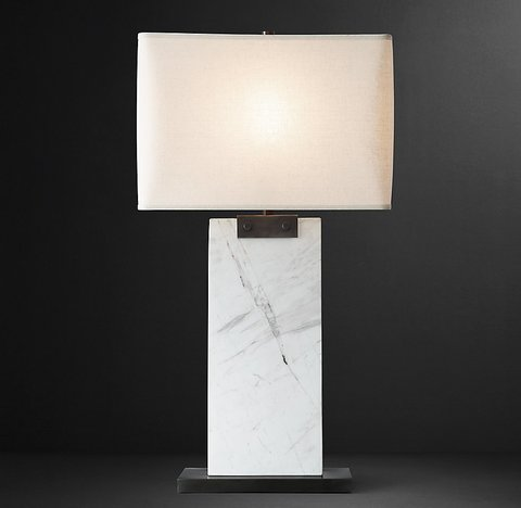 Rectangular Column Marble Table Lamp