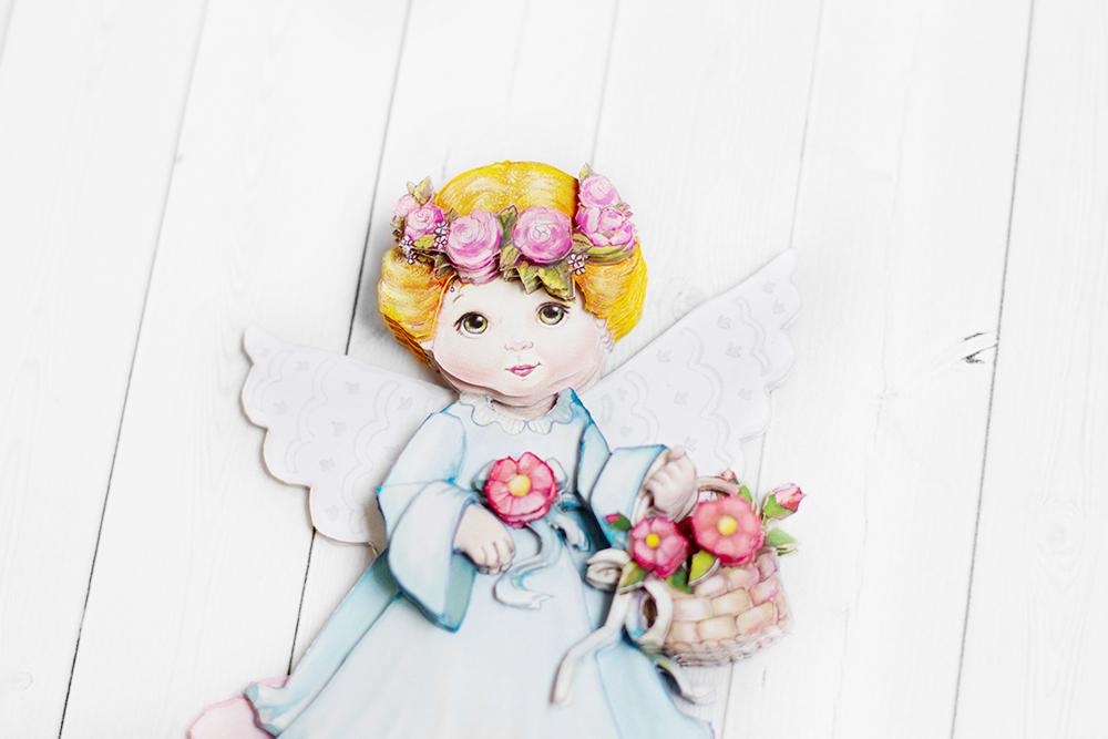 Ангел с цветами, готовая работа