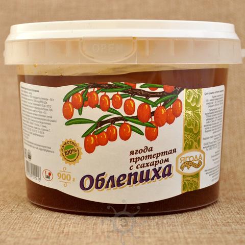 Облепиха протертая с сахаром Ягода сибирская, 900г
