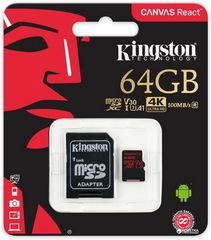 Карта памяти Kingston microSDXC 64GB Class 10 UHS-I U3 R100/W80MB/s (с адаптером) (SDCR/64GB)