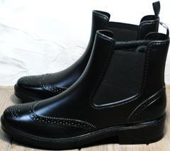 Модельные резиновые сапоги женские короткие W9072Black.