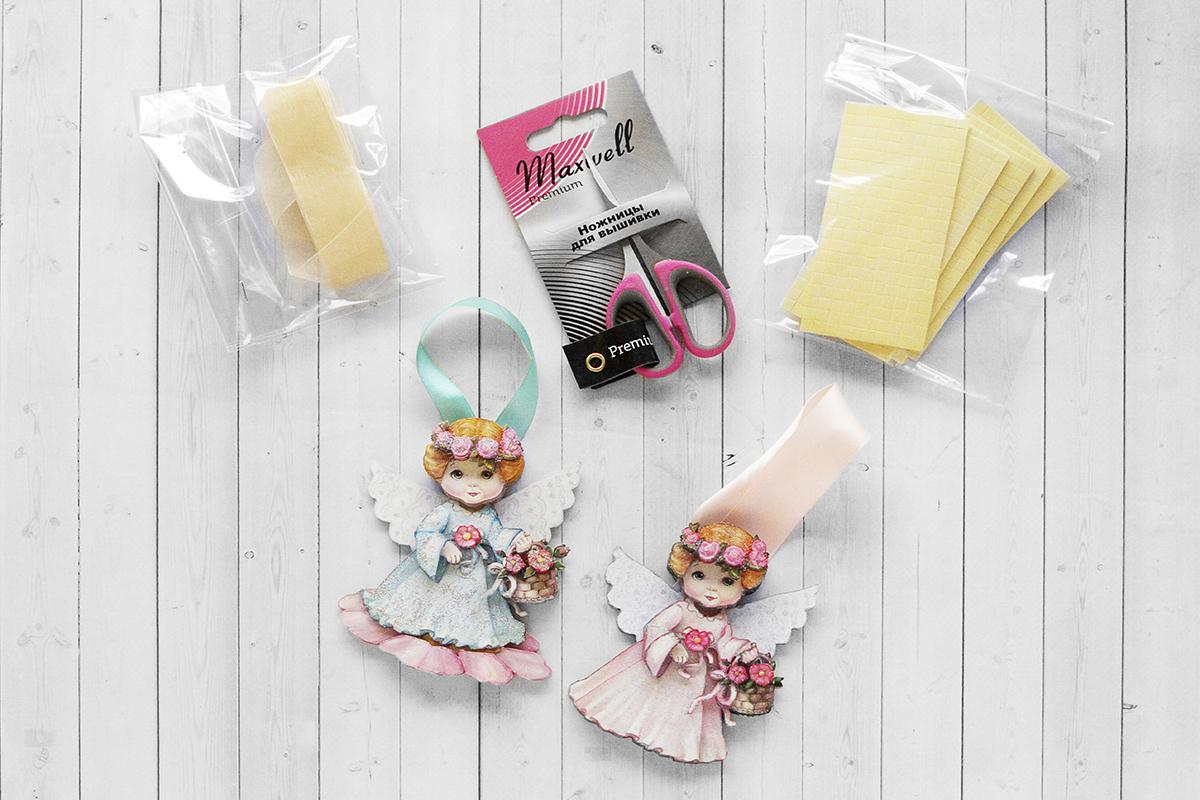 Набор Папертоль Новогодние игрушки ангелочки, - готовые работы