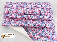Кожа с цветами розово-голубая