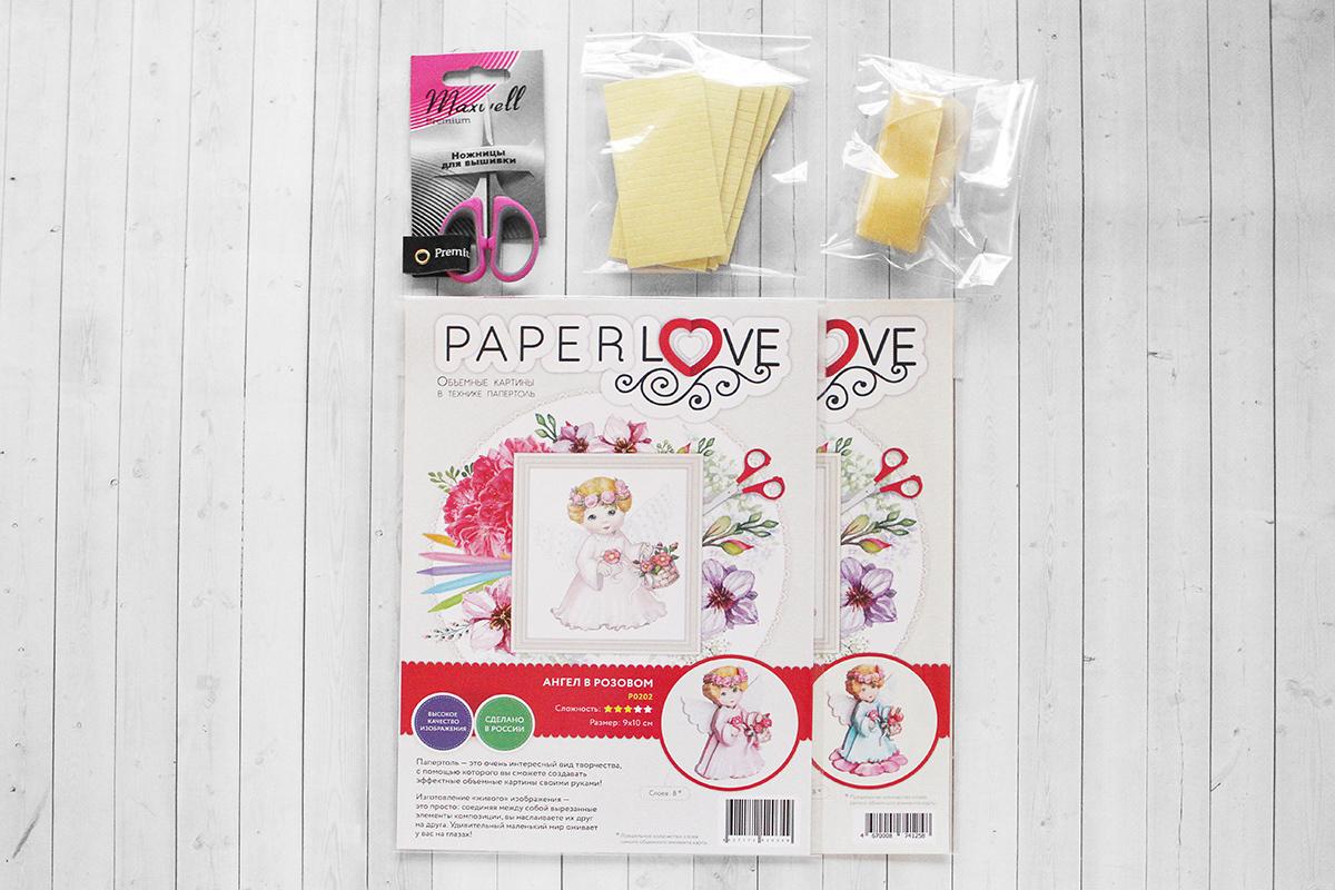 Набор Папертоль Новогодние игрушки ангелочки, - состав набора