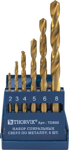 Набор спиральных сверл по металлу HSS TiN в пластиковый кейсе, 6 предметов