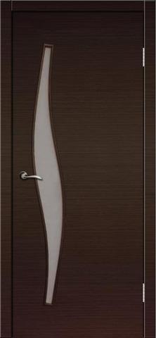 Дверь Сибирь Профиль Волна (С-10), цвет венге, остекленная