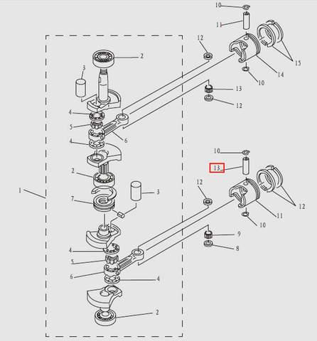 Палец поршневой для лодочного мотора T9.8 Sea-PRO (3-13)