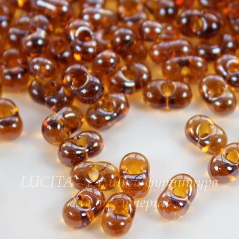 16090 Бисер Preciosa Фарфаль (Farfalle) 6,5х3,2 мм прозрачный блестящий янтарно-коричневый