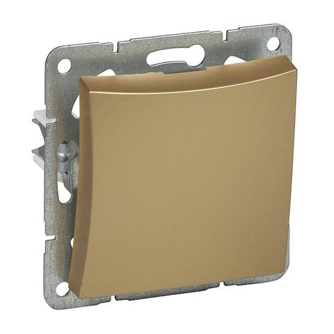 Выключатель одноклавишный с подсветкой (схема 1) 10 АХ 250 В. Цвет Шампань. Schneider Electric(Шнайдер электрик). Duet(Дует). WDE000411