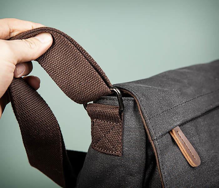 BAG504-1 Удобная городская сумка портфель из ткани серого цвета фото 04