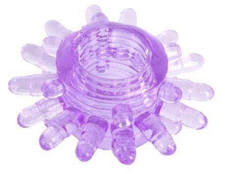 Эрекционные кольца: Фиолетовое гелевое эрекционное кольцо с шипиками