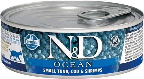 Консервы Famina N&D Cat Ocean Tuna, Cod & Shrimp для кошек