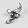 "Бусина металлическая ""Птичка"" (цвет - античное серебро) 17х10х2 мм"