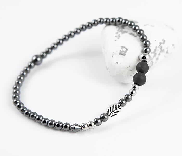 BS844 Мужской браслет из гематита с пером и шунгитом фото 07