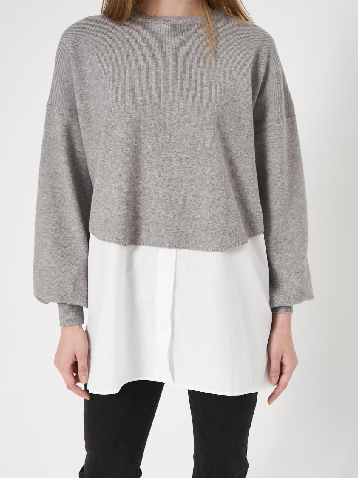 Свитер комбинированый рубашкой