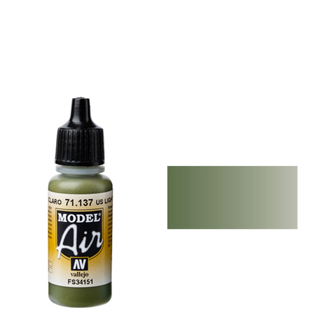 137 Краска Model Air US Светло-Зеленый (US Light Green) укрывистый, 17 мл