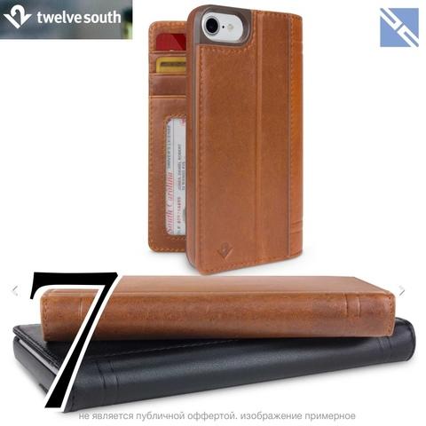 Чехол Twelve South Journal iPhone 8, 7 кожа чехол-книжка коричневый 12-1662 Cognac