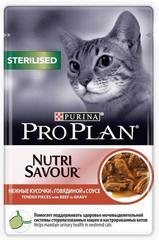 Пауч Purina Pro Plan STERILISED, для стерилизованных кошек, с говядиной