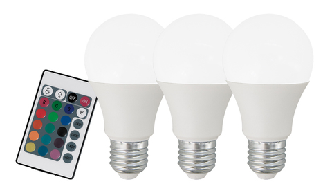 Лампа RGB LED диммируемая с пультом ДУ Eglo RGB-W INFRARED LM-LED-E27 3X7,5W 470Lm 3000K RGBW-A60 10681