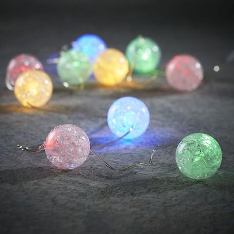 Гирлянда с разноцветными шариками на батарейках Luca Lighting мультиколор (10 ламп, длина гирлянды 90 см)