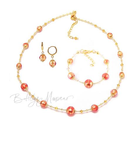 Комплект Примавера розово-золотистый (серьги, ожерелье, браслет)