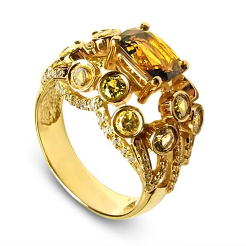 0838 Андалузит, бриллианты, цитрины, перидоты