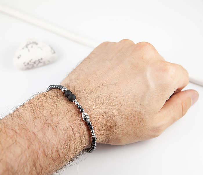 BS844 Мужской браслет из гематита с пером и шунгитом фото 10