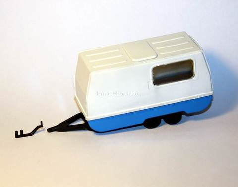 Camper Trailer with towing hitch white-blue Kompanion 1:43