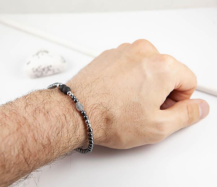 BS844 Мужской браслет из гематита с пером и шунгитом фото 11