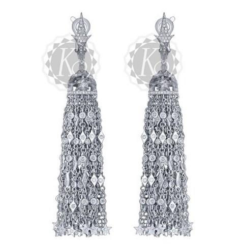 Серьги-кисточки  из серебра в стиле Ko Jewelry 4653