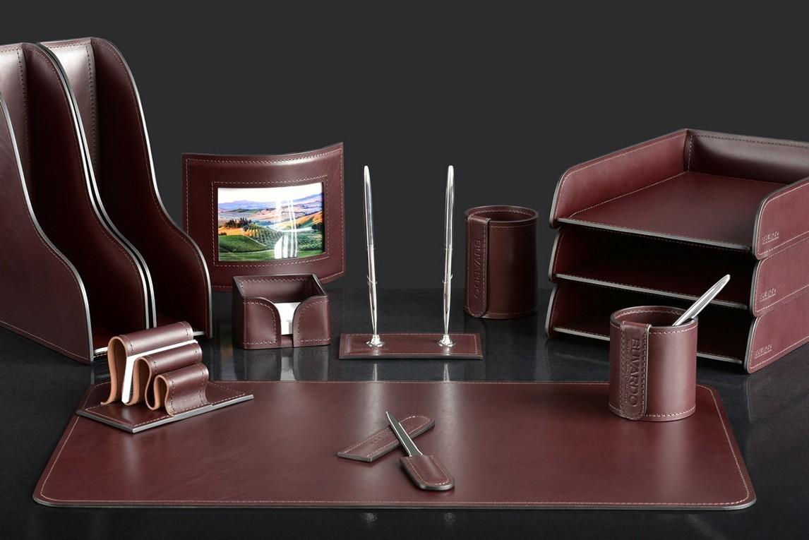 На фото набор на стол руководителя 73517 13 предметов кожа LUX Full Grain цвет