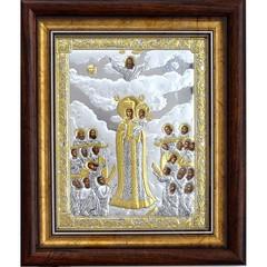 Всех скорбящих радость. Икона Божьей Матери в серебряном окладе.