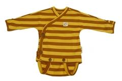 Боди/футболка с запАхом (кимоно) ManyMonths ECO 0-3/4 мес (50-56/62 см), Коричневые/Желтые полосы (100% органический хлопок)